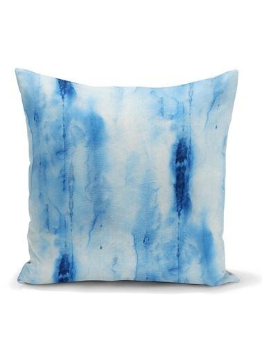 Real Homes Mavi Renkli Ebru Desenli Dijital Baskılı Modern Yastık Kılıfı Renkli